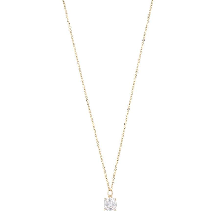 Snö Of Sweden Camille Stone Pendant Halskette (50cm), Gold/Clear