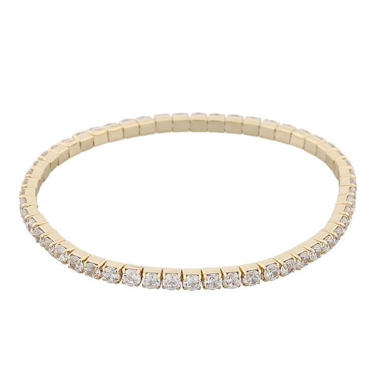 Snö Of Sweden Hanni Elastic Stone Bracelet, Gold/Clear 16–17 cm
