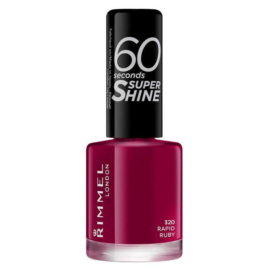Rimmel London 60 Seconds Super Shine Nail Polish, # 320 Rapid Ruby (8 ml)