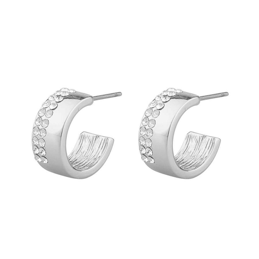 Snö Of Sweden Marseille Small Oval Earring, Silver/Clear