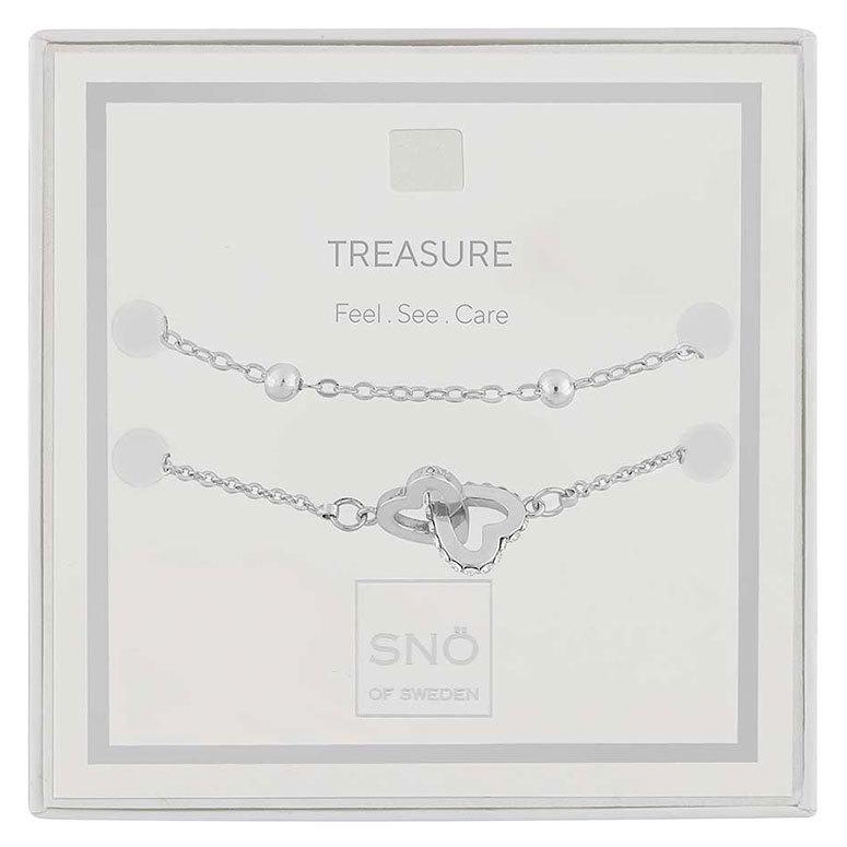 Snö Of Sweden Valentine Treasure Bracelet Set, Silver / Clear