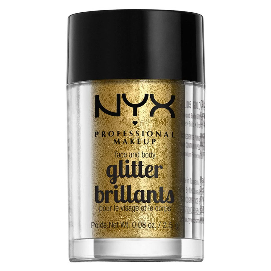 NYX Professional Makeup Face And Body Glitter Brilliants, Gold GLI05 (2,5 g)