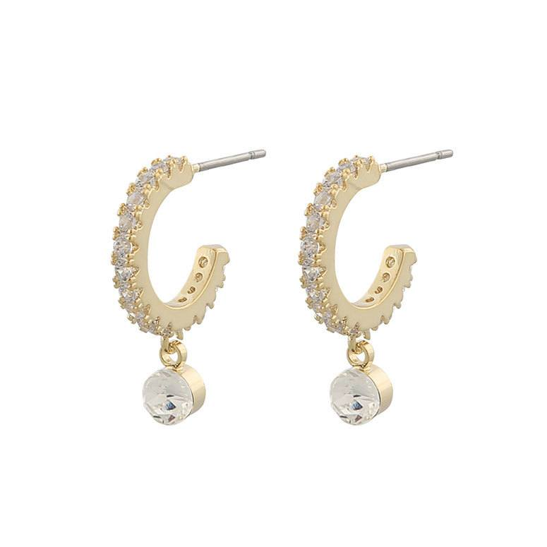 Snö Of Sweden Shy Small Ring Earring, Gold/Clear 20 mm