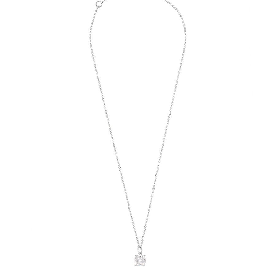 Snö Of Sweden Camille Stone Pendant Halskette (50cm), Silver/Clear