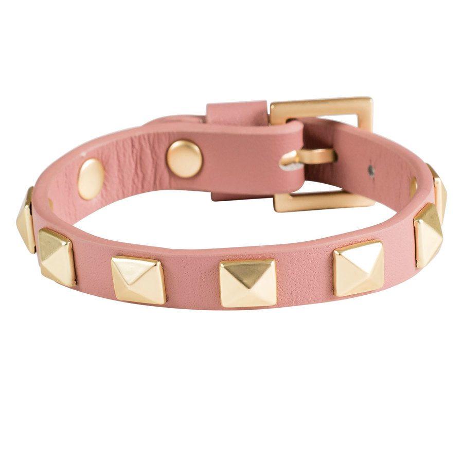 DARK Leather Stud Bracelet, Dusty Rose With Matte Gold