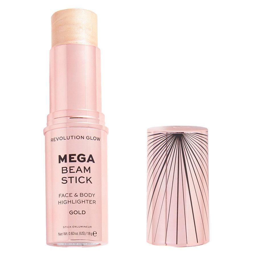 Makeup Revolution Glow Mega Beam Stick Face & Body Highlighter, Gold 18g