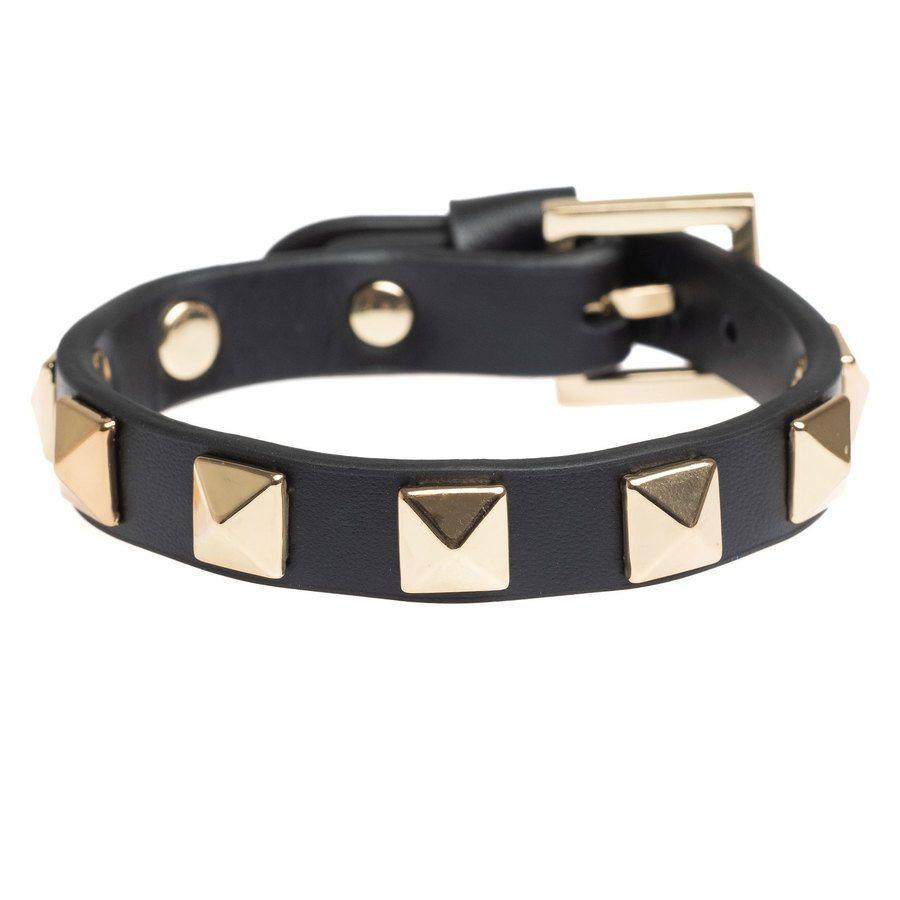 DARK Leather Stud Bracelet, Black With Gold