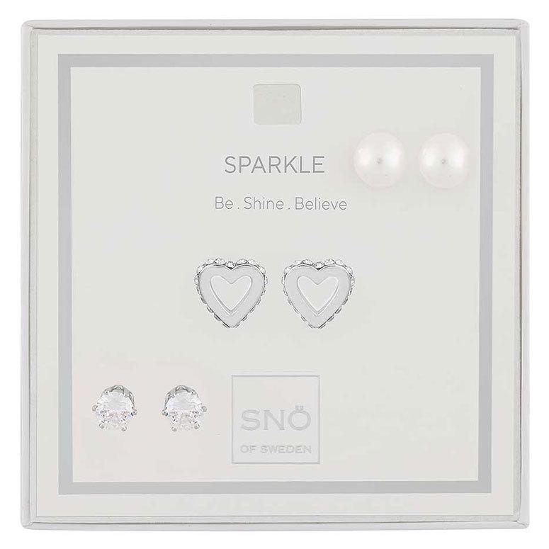 Snö Of Sweden Valentine Sparkle Earring Set, Silver / Clear