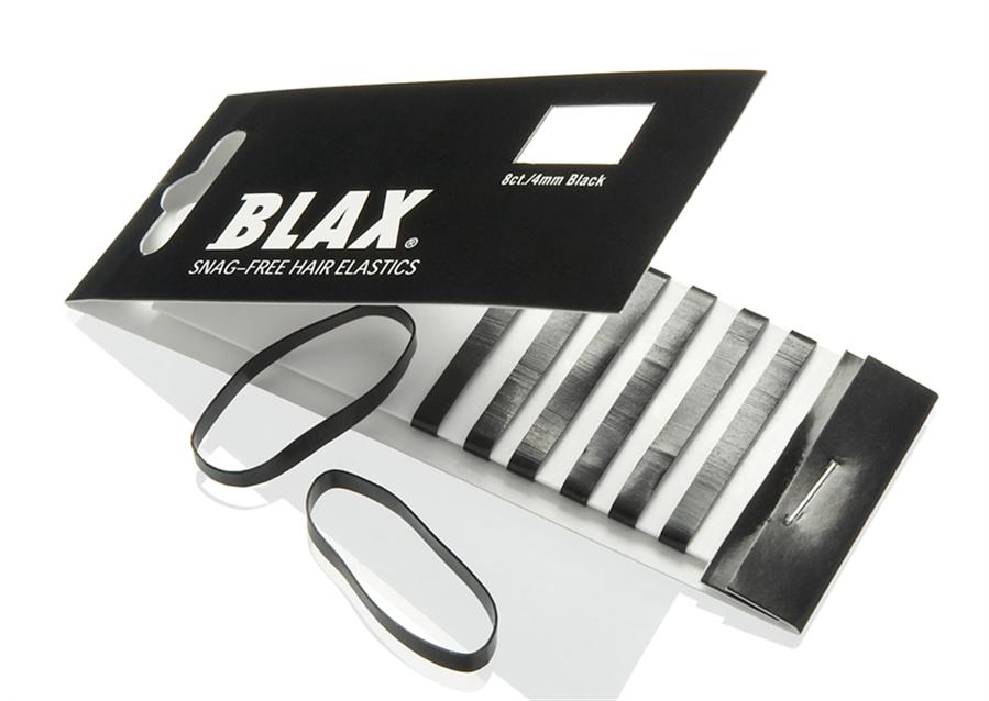 Blax Snag-Free Hair Elastics (4 mm), Haargummis, 8 Stück, Schwarz