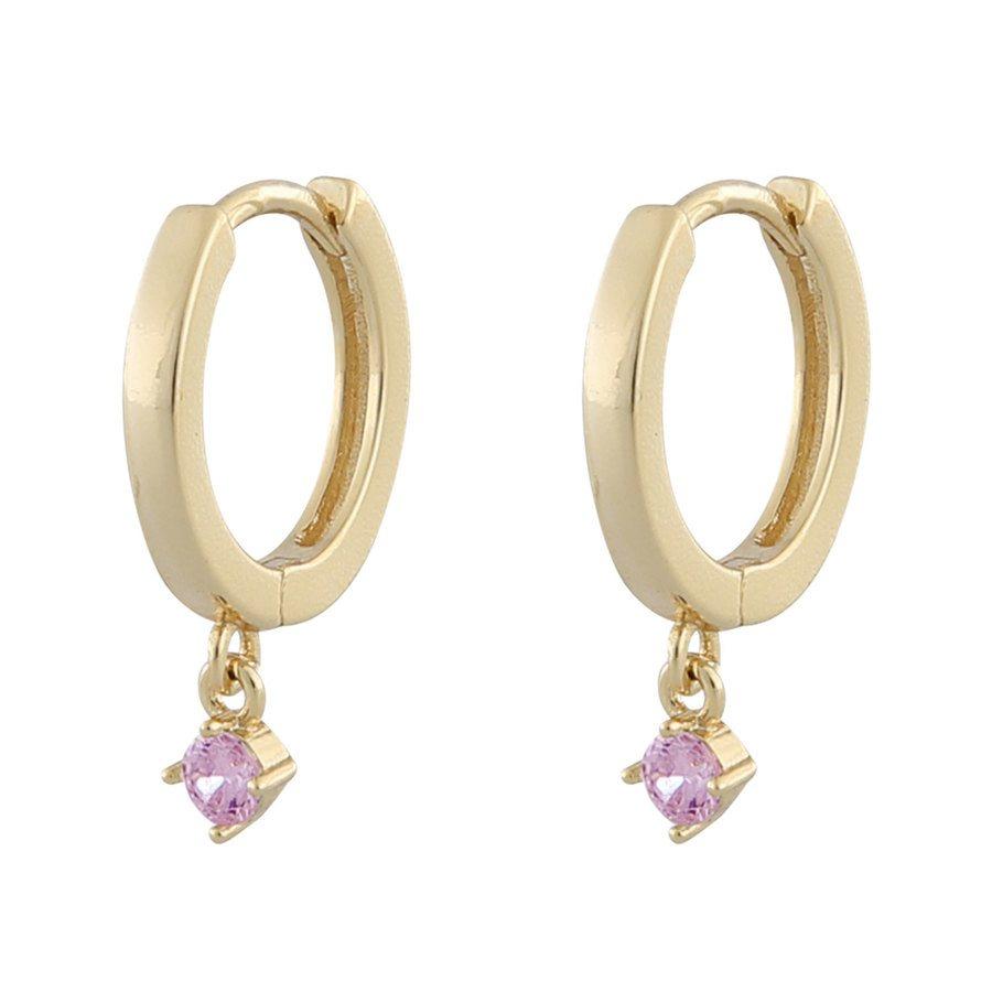 Snö Of Sweden Camille Kleiner Ring Ohrring, Gold/Pink