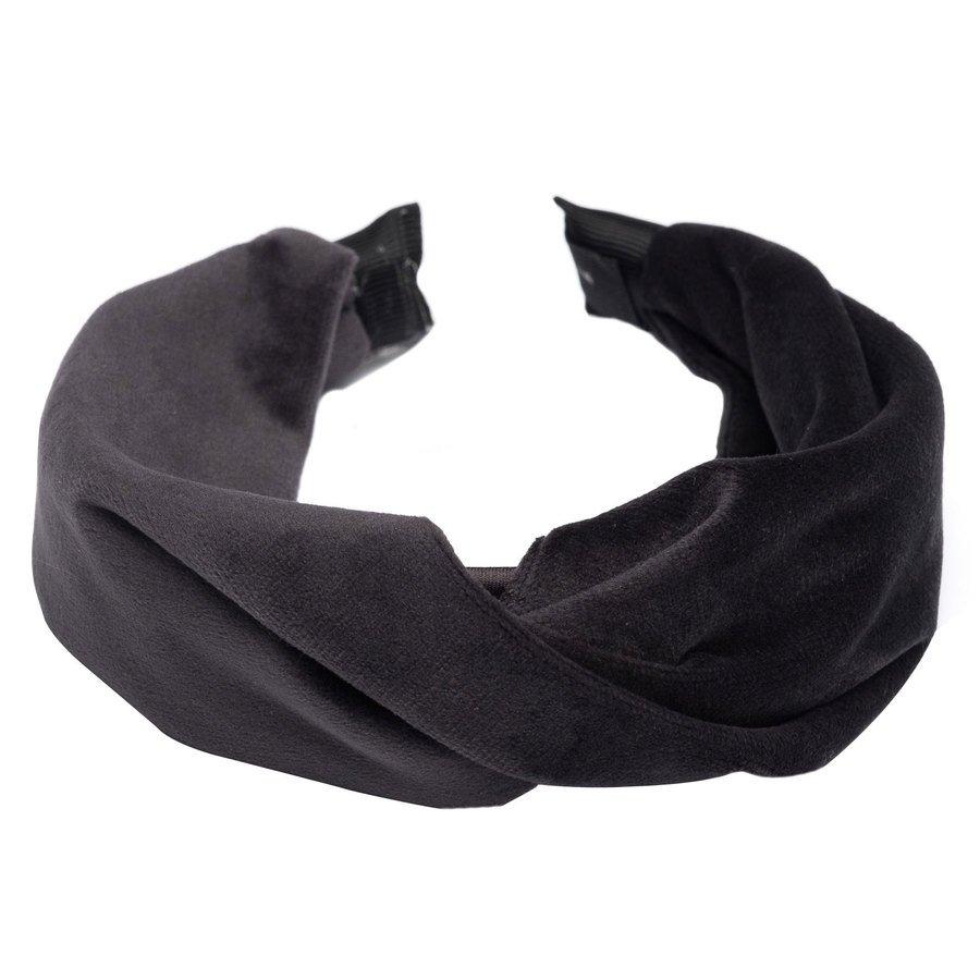 DARK Samt-Haarband mit Twist Charcoal
