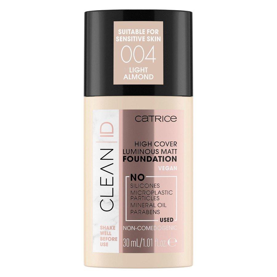 Catrice Clean ID High Cover Luminous Matt Foundation, 004 Light Almond 30 ml