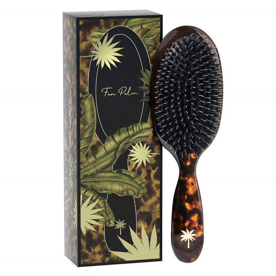 Fan Palm Boar & Nylon Brush Tortoise Shell, Medium
