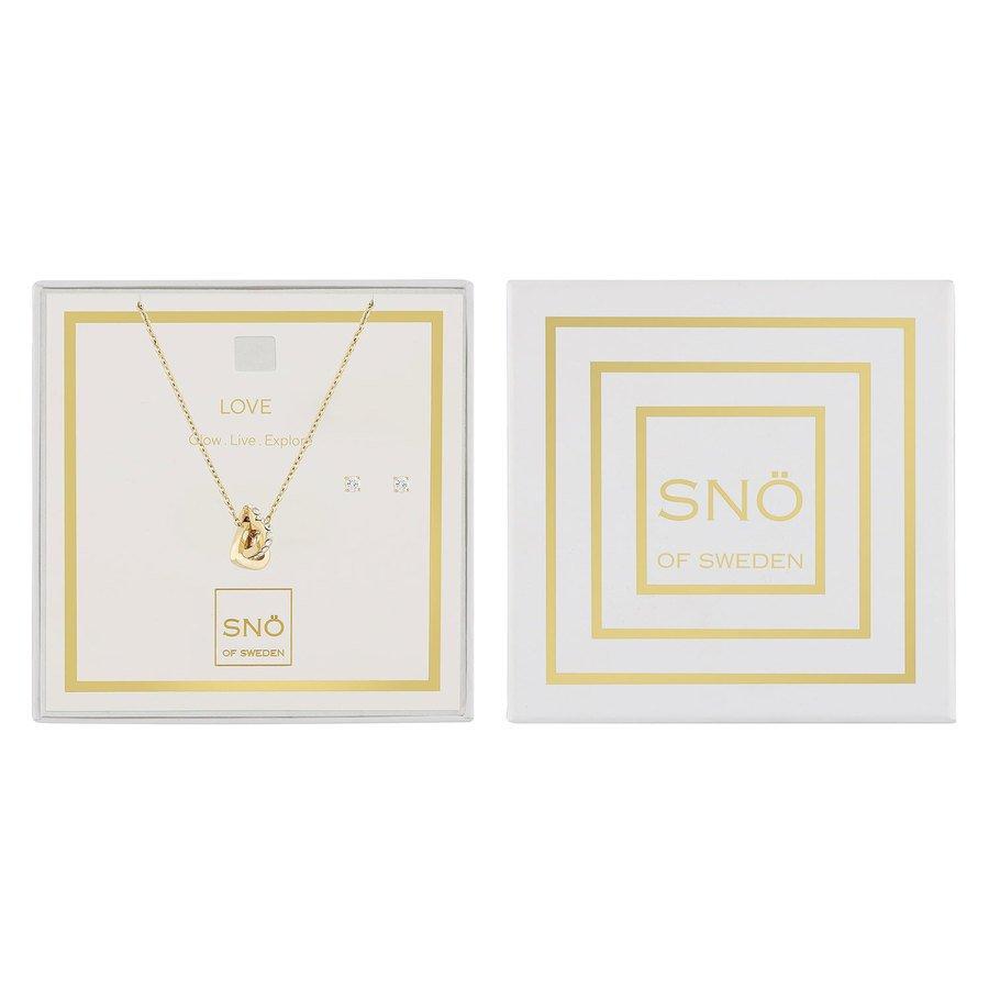 Snö Of Sweden Valentine Love Necklace Set, Gold / Clear