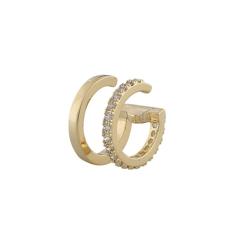 Snö Of Sweden Hanni Double Cuff Earring, Gold / Clear 13 mm