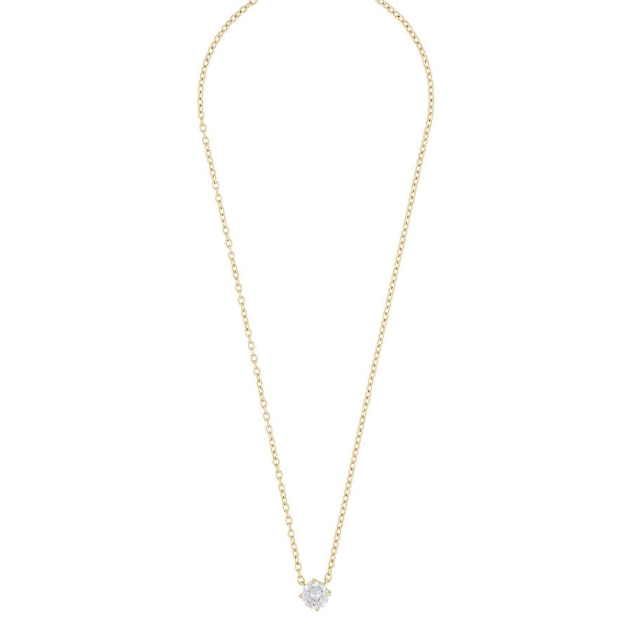 Snö Of Sweden Luire Stone Pendant Necklace, Gold/Clear 40 cm