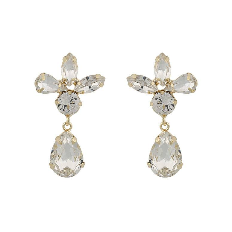 Snö Of Sweden Smith Drop Pendant Earring, Gold/Clear 37 mm