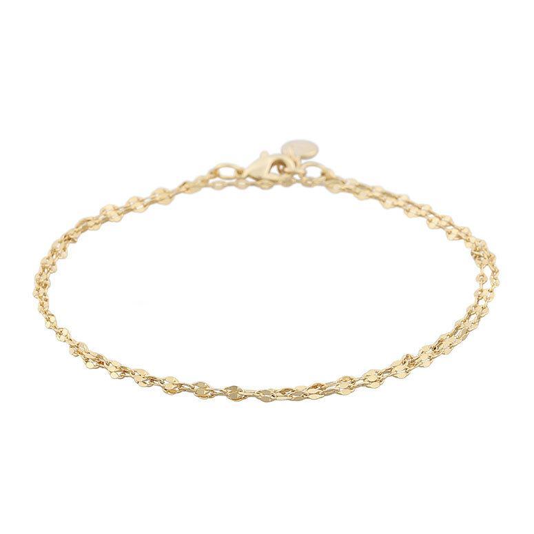 Snö Of Sweden Stine Double Chain Bracelet, Plain Gold 16–17 cm