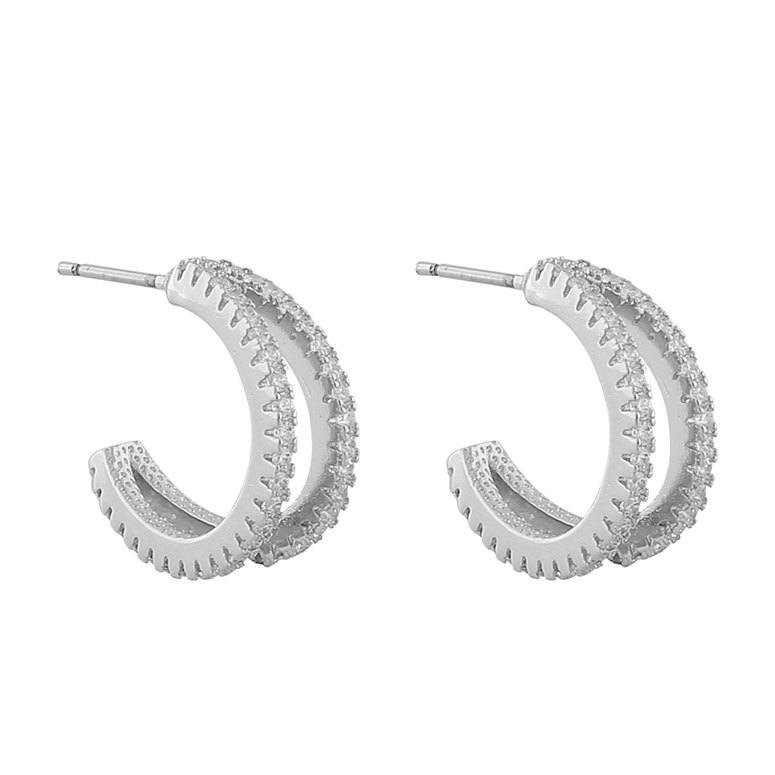 Snö Of Sweden Hanni Double Ring Earring, Silver/Clear 16 mm