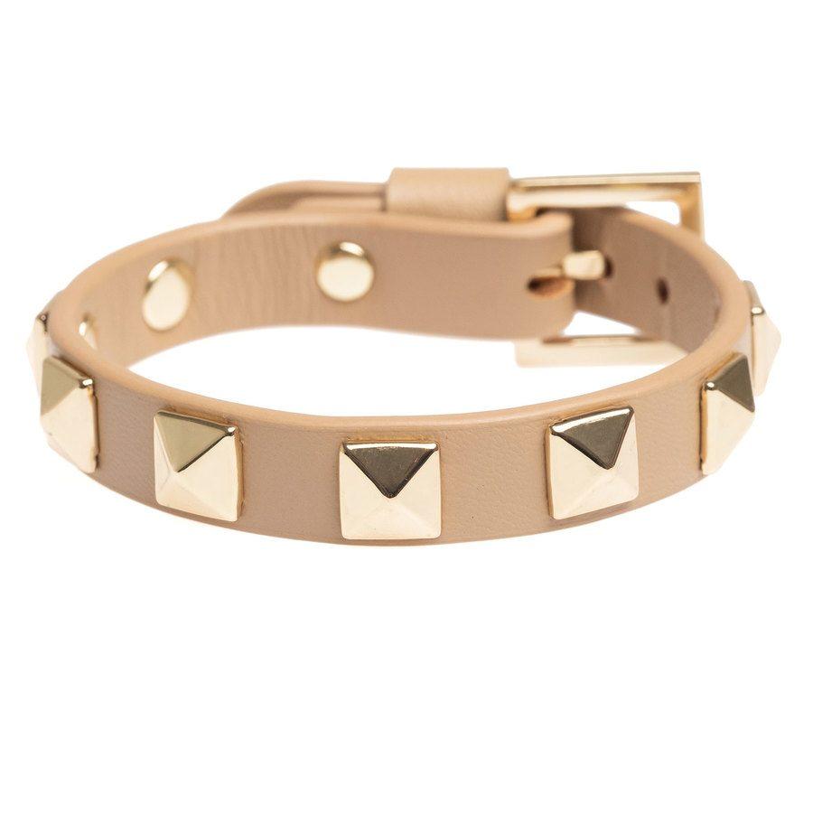 DARK Leather Stud Bracelet, Sand With Gold
