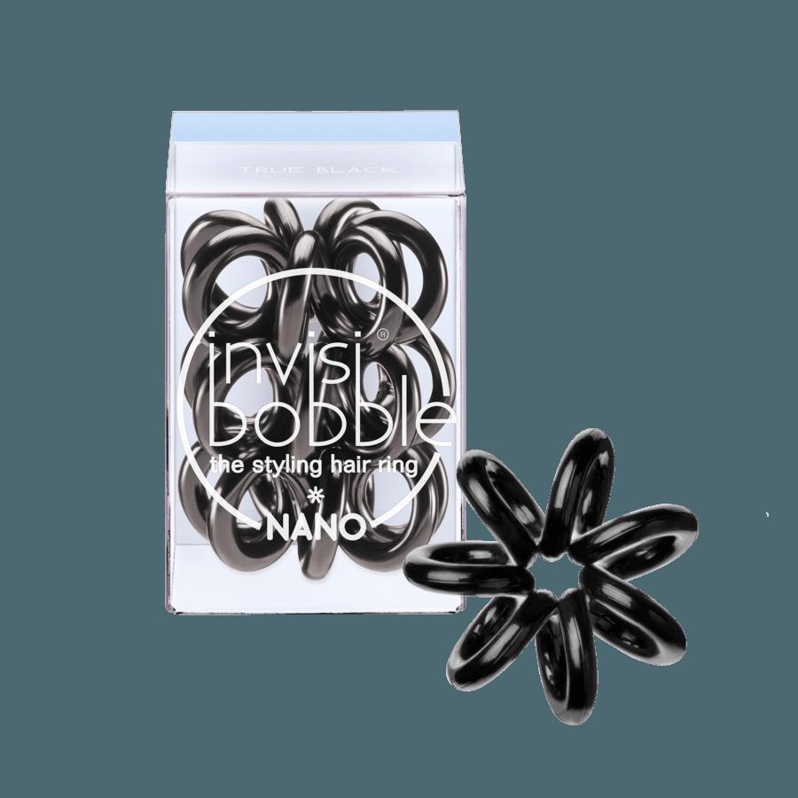Invisibobble Nano 3 Styling Hair Rings, True Black