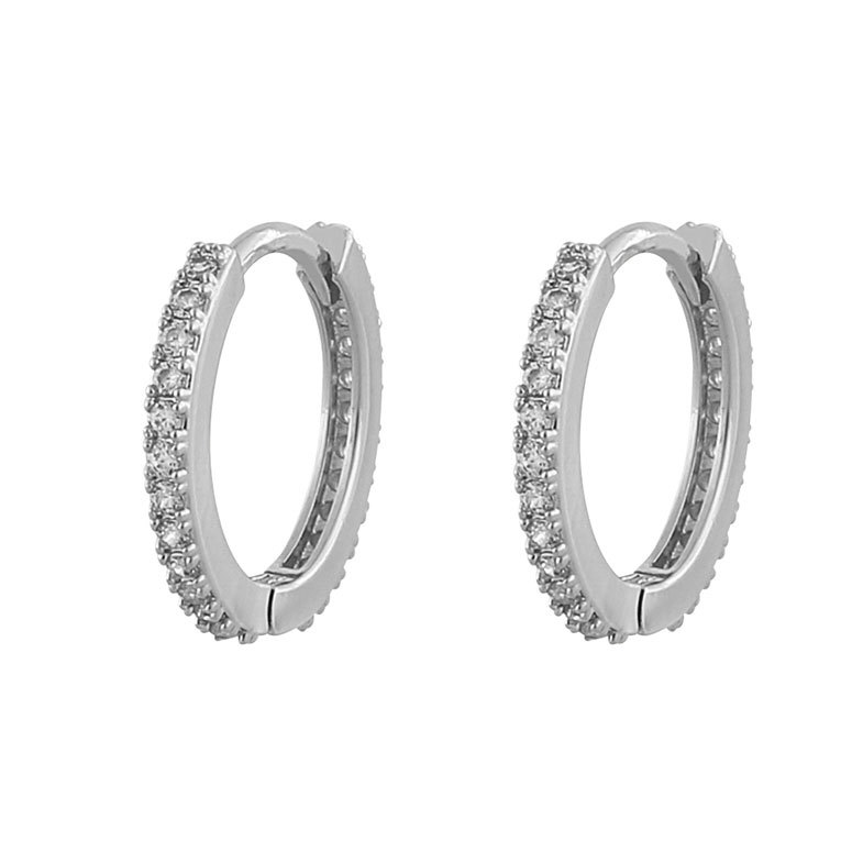 Snö Of Sweden Hanni Small Ring Earring, Silver/Clear 16 mm