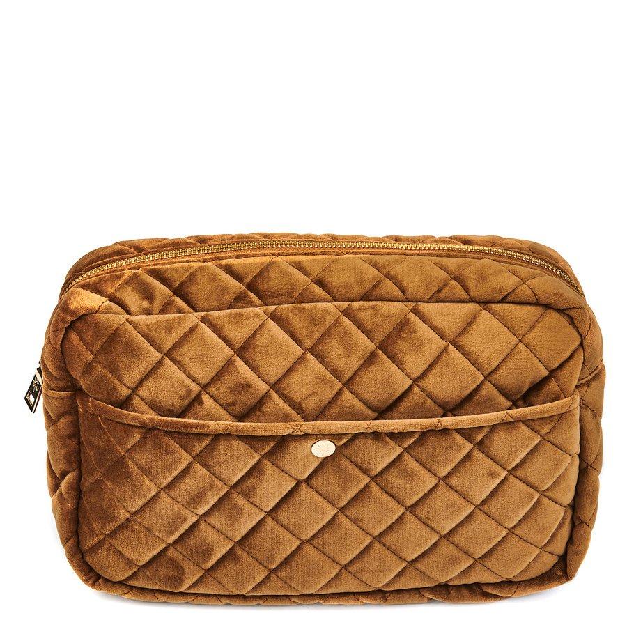 Fan Palm Beauty Bag Quilted Velvet Large, Cognac