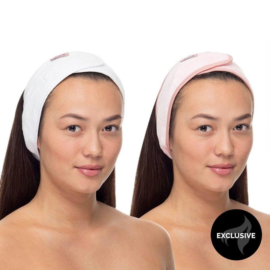 Shelas Microfiber Headband Rosa & Vit 2 st