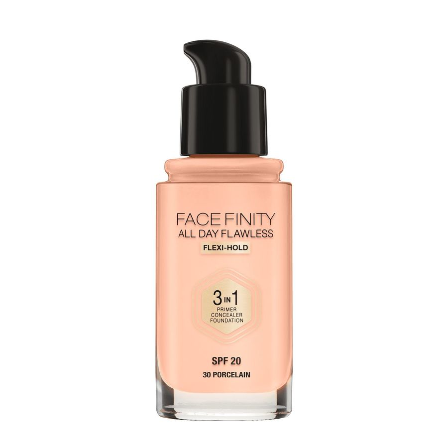 Max Factor Facefinity All Day Flawless 3-in-1 Foundation, Porcelain (30ml)