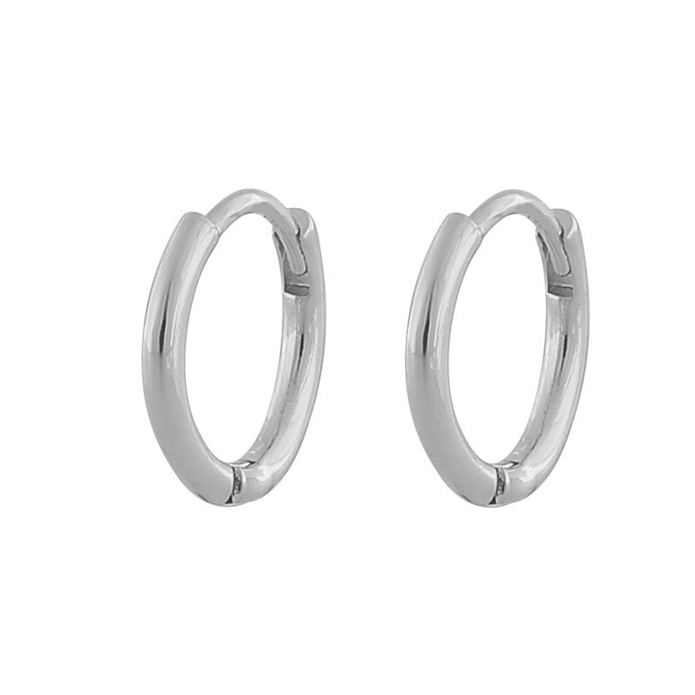 Snö Of Sweden Amber Thin Small Ring Earring, Plain Silver 14 mm