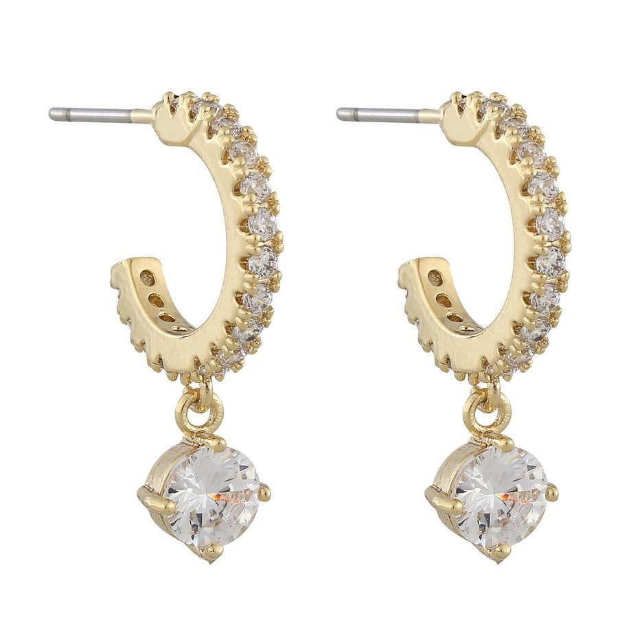 Snö Of Sweden Luire Stone Oval Pendant Earring, Gold/Clear