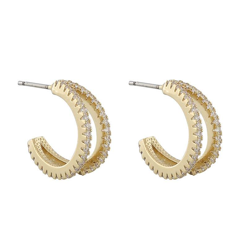 Snö Of Sweden Hanni Double Ring Earring, Gold/Clear 16 mm