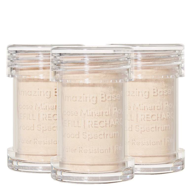 Jane Iredale Amazing Base Refillable Brush, Ivory 3 Pack Refills