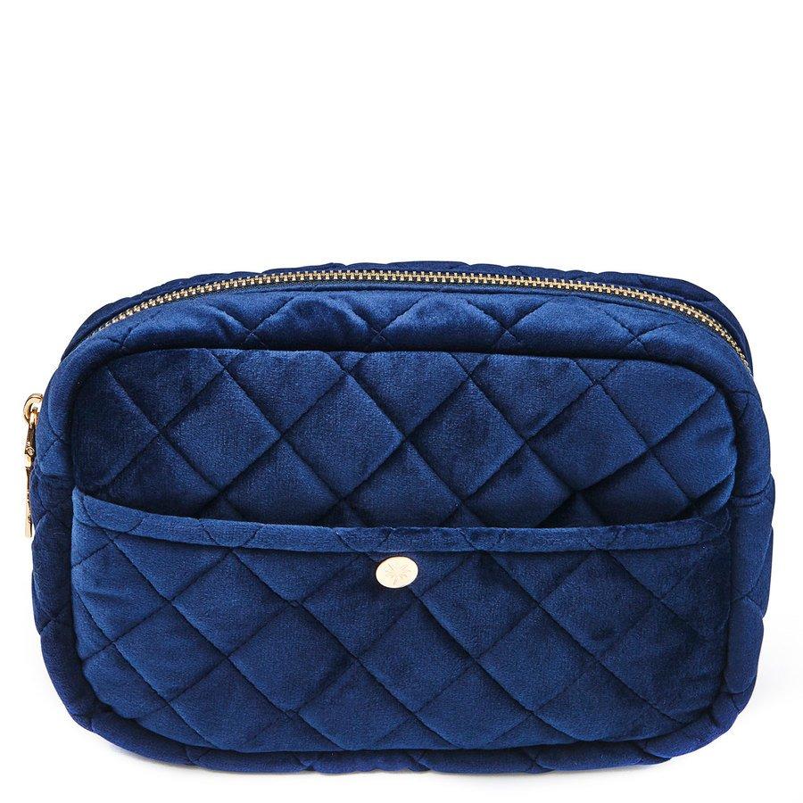 Fan Palm Beauty Bag Quilted Velvet Medium, Midnight Blue