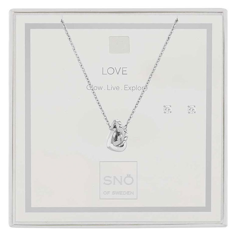 Snö Of Sweden Valentine Love Necklace Set, Silver / Clear