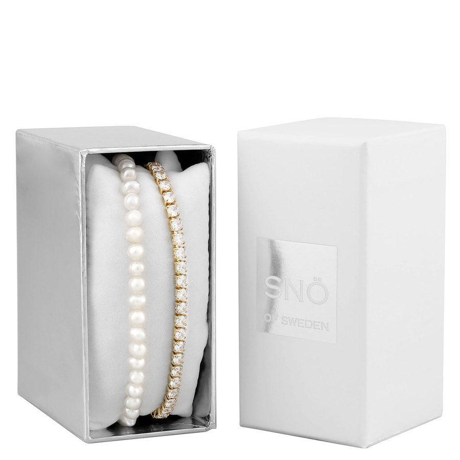 Snö of Sweden Crystal Pearl Brace Set 1, Gold / White