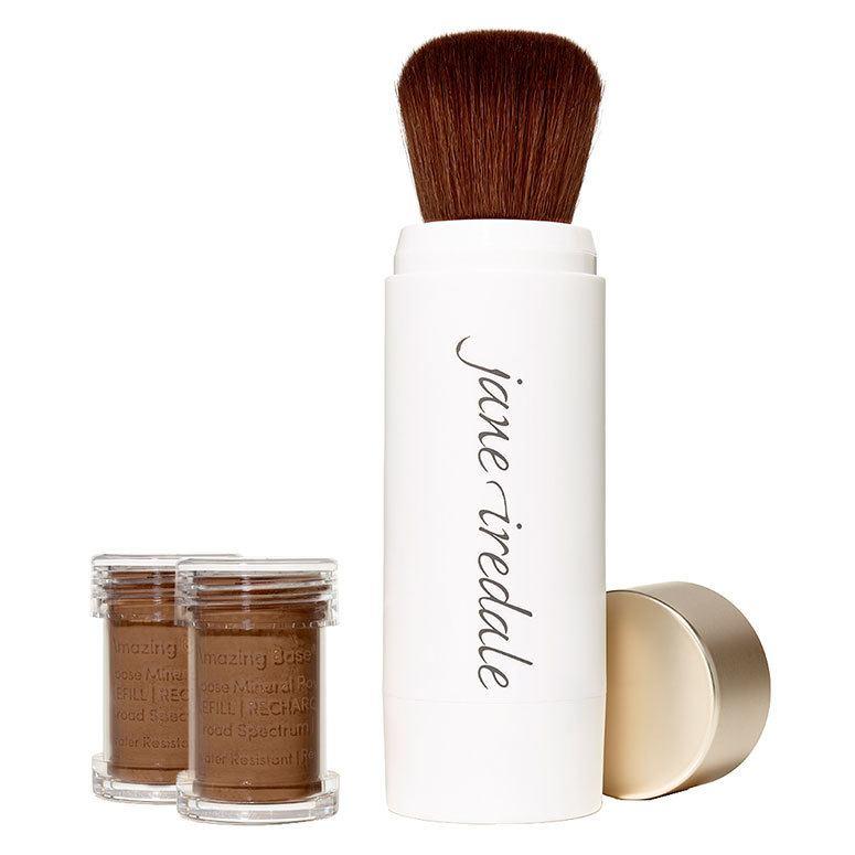 Jane Iredale Amazing Base Refillable Brush, Mahogany 2x Refills