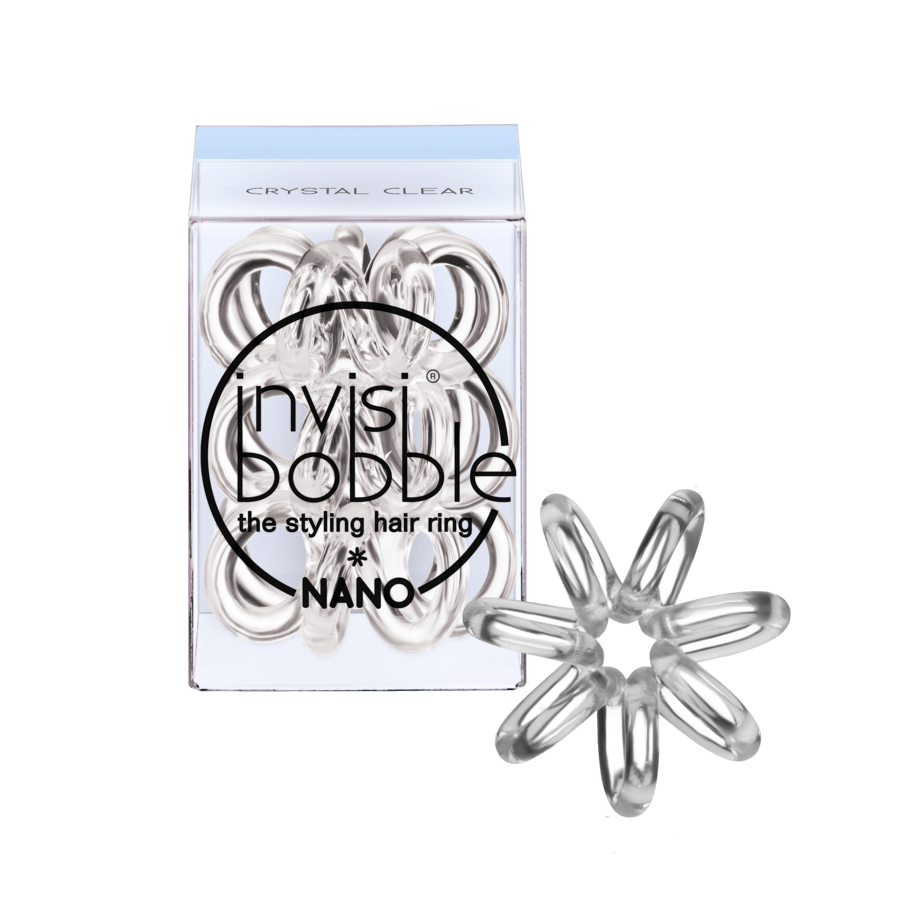 Invisibobble Nano 3 Styling Hair Rings, Crystal Clear