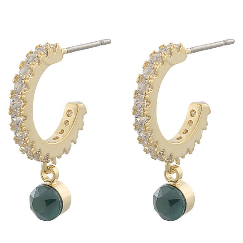 Snö Of Sweden Shy Small Ring Earring, Gold/Green 20 mm