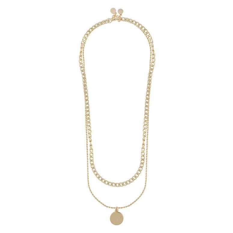 Snö Of Sweden Patrice Necklace Set, Plain Gold 45 cm