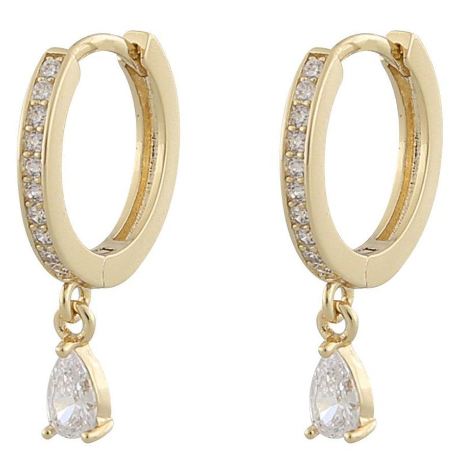 Snö Of Sweden Camille Drop Ring Ohrring Gold/Clear