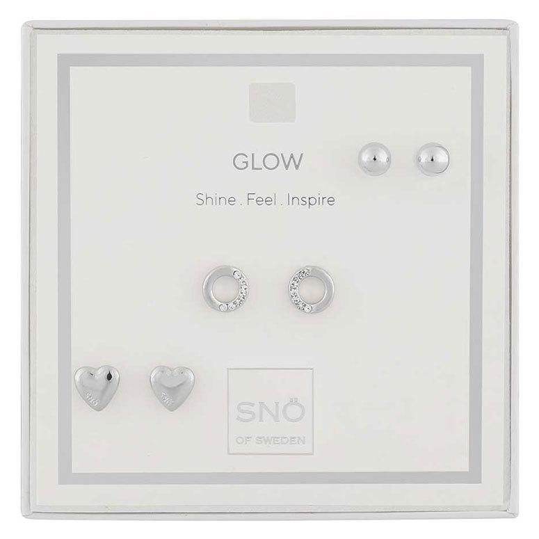 Snö Of Sweden Valentine Glow Earring Set, Silver / Clear