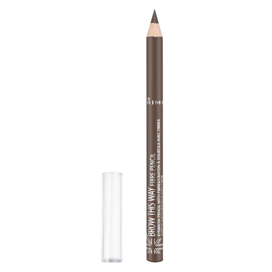 Rimmel London Brow This Way Fiber Pencil, # 002 Medium Brown (1 g)