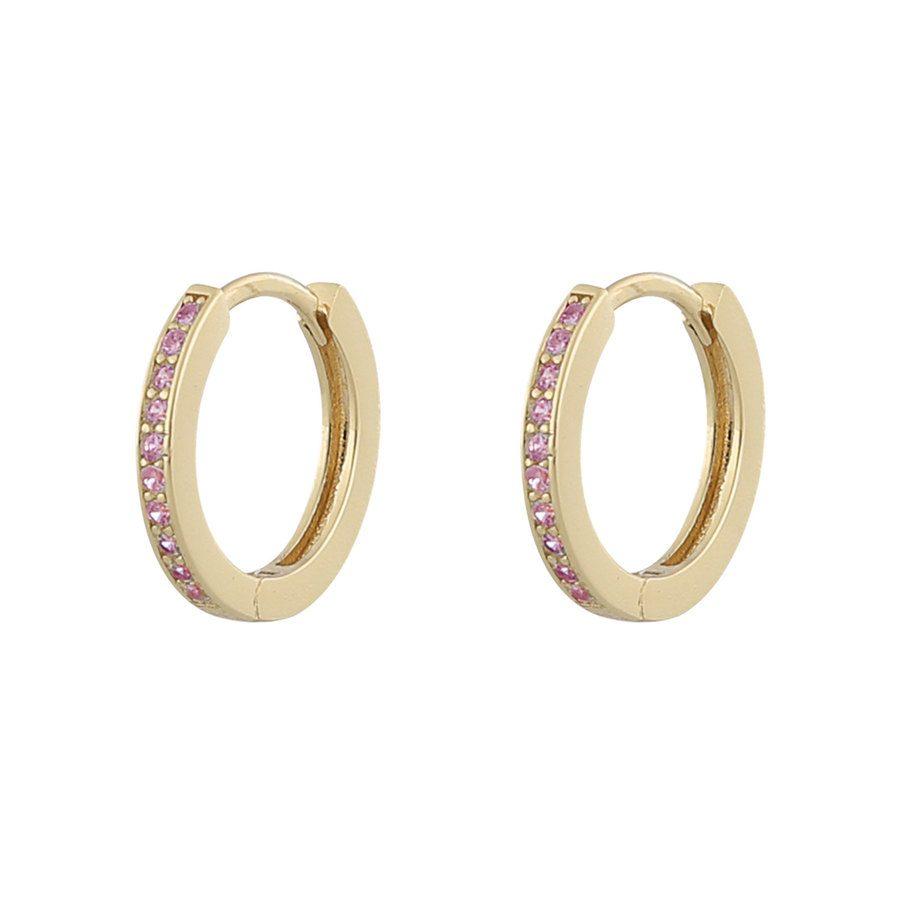 Snö Of Sweden Camille, ringförmiger Ohrring, Gold/Pink