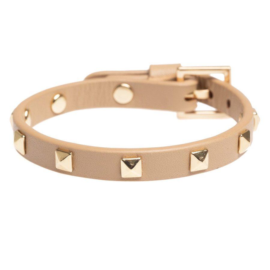 DARK Leather Stud Bracelet Mini, Sand With Gold