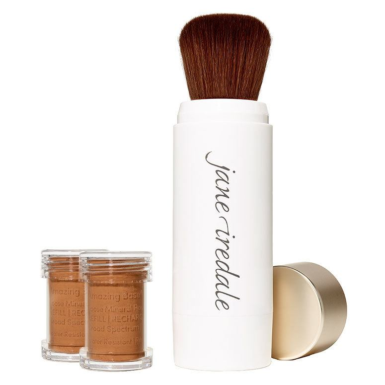 Jane Iredale Amazing Base Refillable Brush, Warm Brown 2x Refills